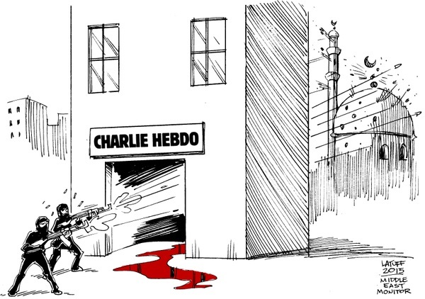 Latuff cartoon on the Charlie Hebdo massacre