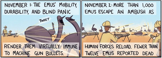 scenes from the Emu War as drawn by Korwin Briggs