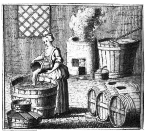 Gravure of female beer brewer