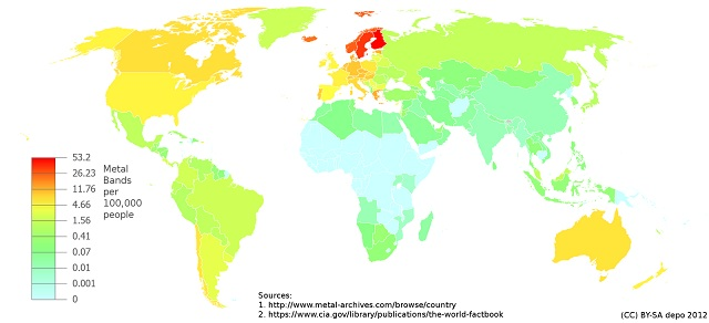 Map showing the density of heavy metal bands per country