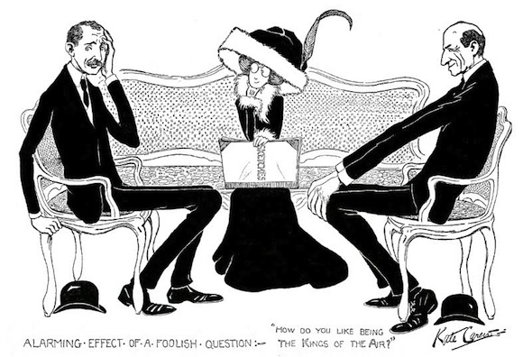 Kate Carew caricature of herself interviewing the Wright Brothers