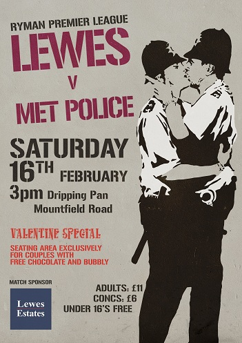 Lewes F.C. kissing policeman match day poster