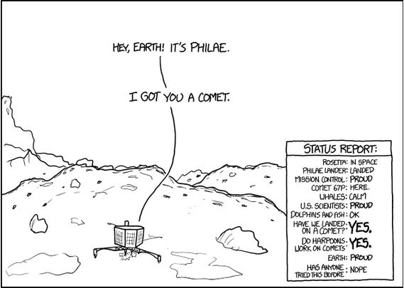 XKCD cartoon of Philae landed on the comet