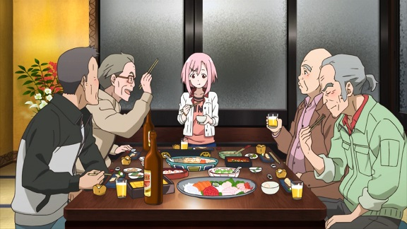 Sakura Quest: our heroine surrounded by wrinklies