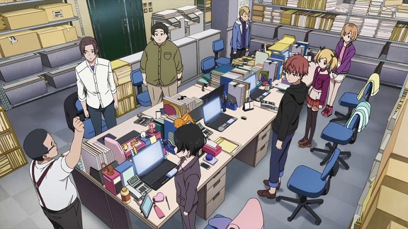 The Shirobako production staff holding their daily standup
