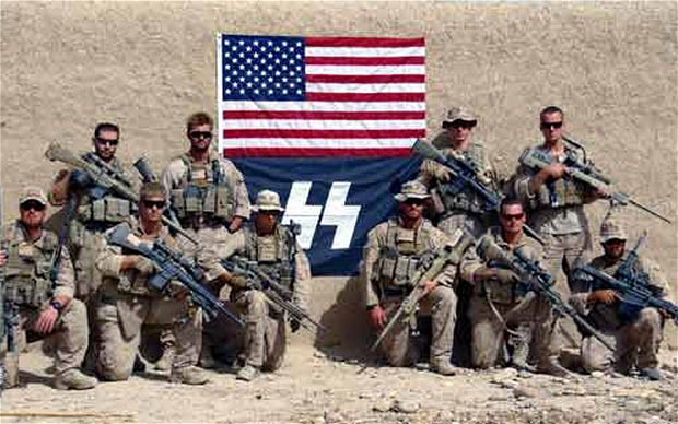 US marines posing with SS symbol flag