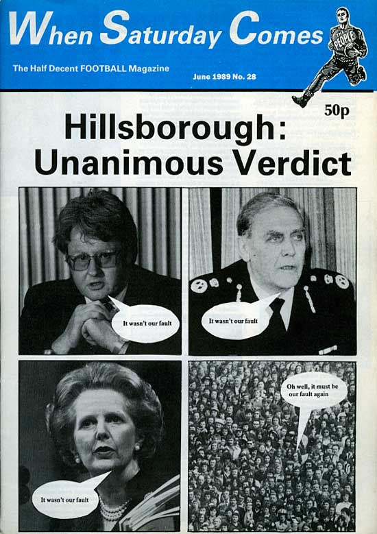cover of the first edition of When Saturday Comes after the Hillsborough disaster